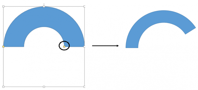 Press the yellow cursor to decrease the width of the bloc arc