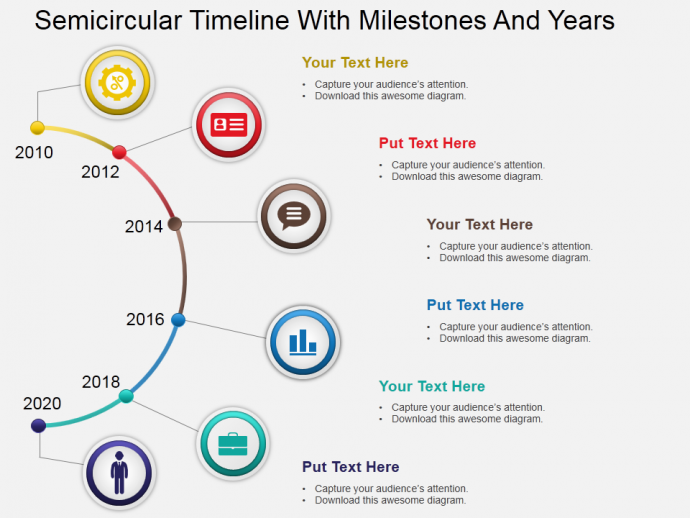 Semicircular timeline with milestones and years powerpoint template