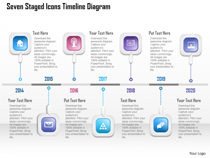 Seven staged icons timeline diagram powerpoint template