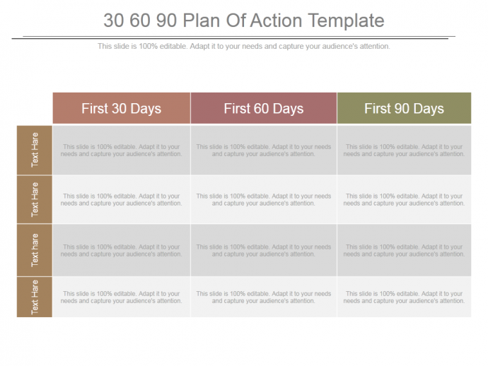 30 60 90 day plan designs that ll help you stay on track for First 100 days plan template
