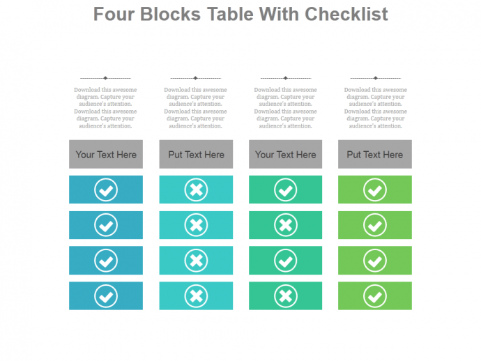 How to create a modern checklist diagram in powerpoint the four blocks table with checklist powerpoint slides ccuart Images
