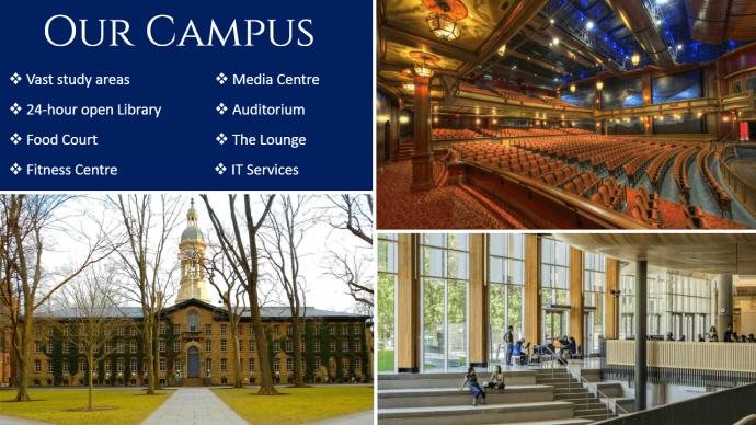 Slide collage of college campus