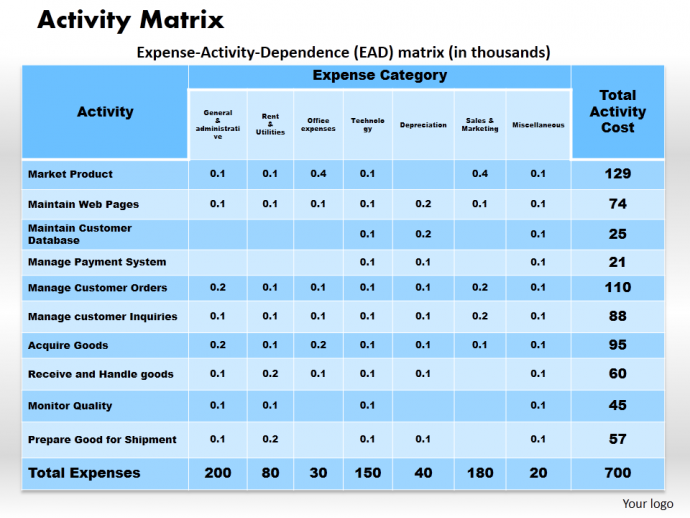 Activity Matrix PPT Slide