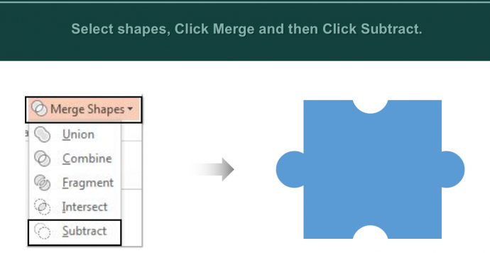 Choose option Subtract from Merge Shapes