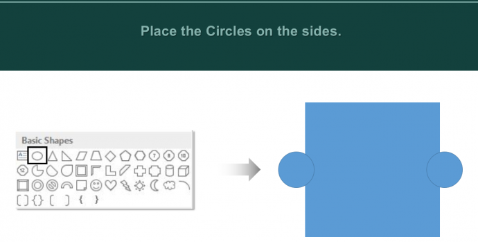 Place two Circles on the sides