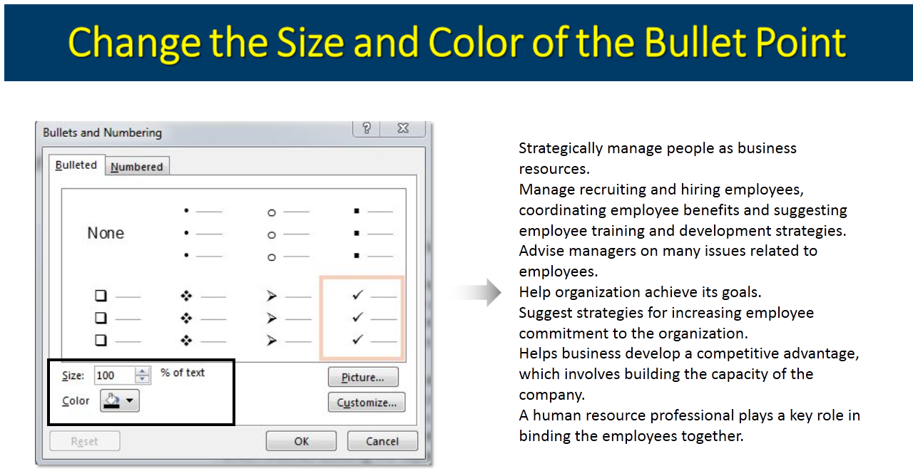 how to change the bullets color in powerpoint