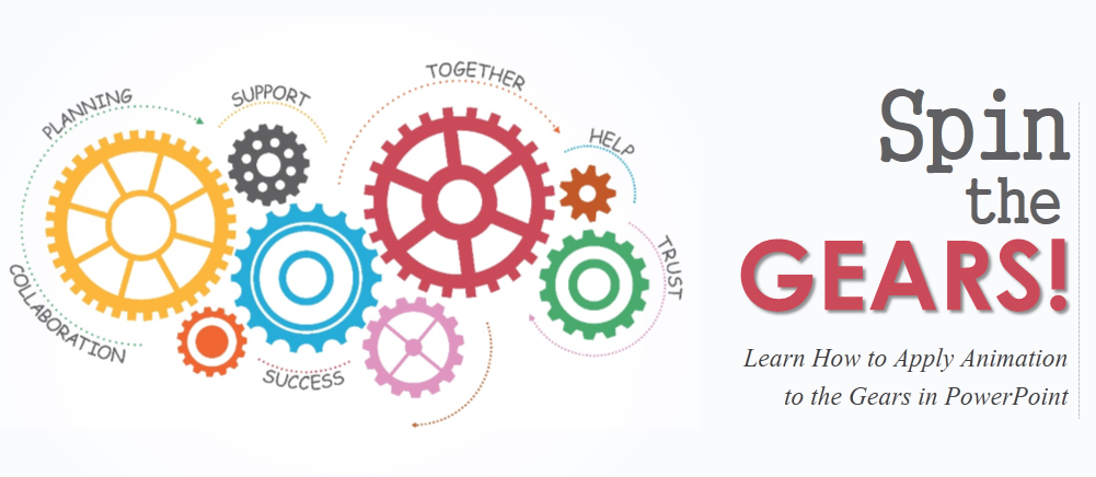 spin the gears! learn how to apply animation to the gears | the, Powerpoint templates