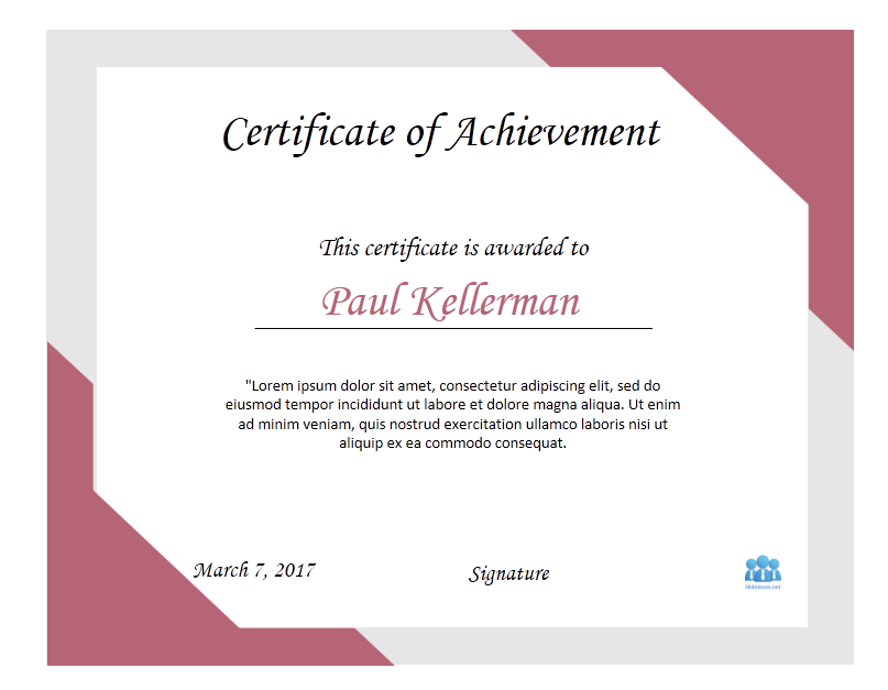 How to create certificate of achievement templates in powerpoint certificate design altavistaventures Image collections