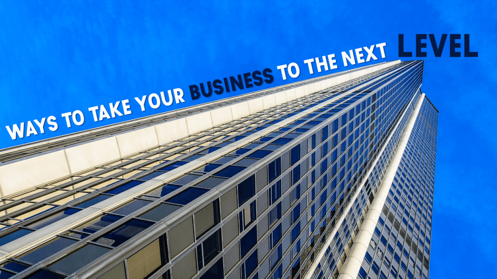 Take Your Business to the Next Level Presentation Slide- Text follows the direction of building