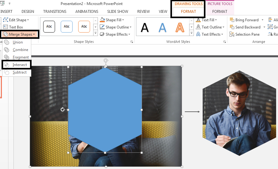 Intersect the Image and Hexagon using the Merge Shapes feature