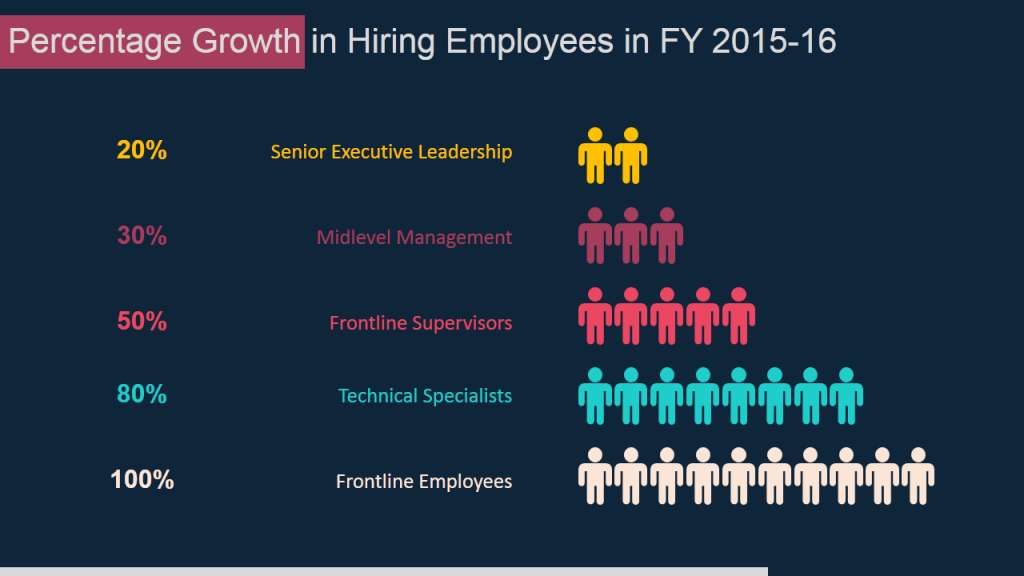 Percentage Growth in Hiring Employees- Data Visualization