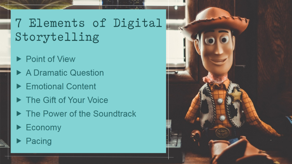 7 Elements of Digital Storytelling- Earthy rusty look to slide with brown and green colors