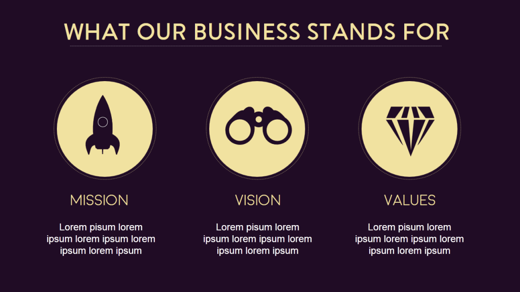 Business Mission Vision Values of an upscale company