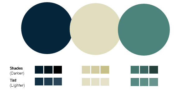 Color Palette 3- Dark blue, Tan and Green