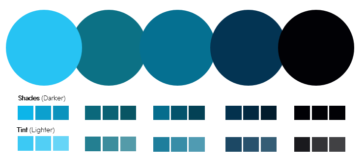 Color Palette 6- Turquoise, Teal and Dark Blue