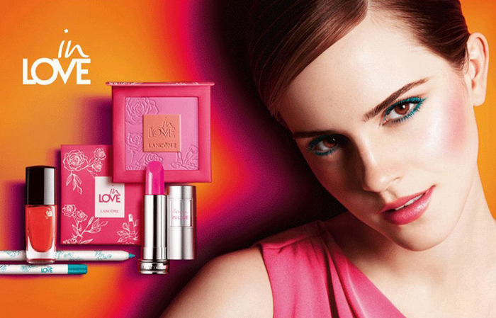 Emma Watson is the brand amabassador for Lancome and features in this vibrant ad