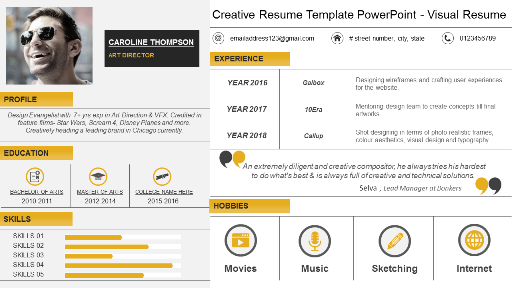 Creative PowerPoint Visual Resume Layout