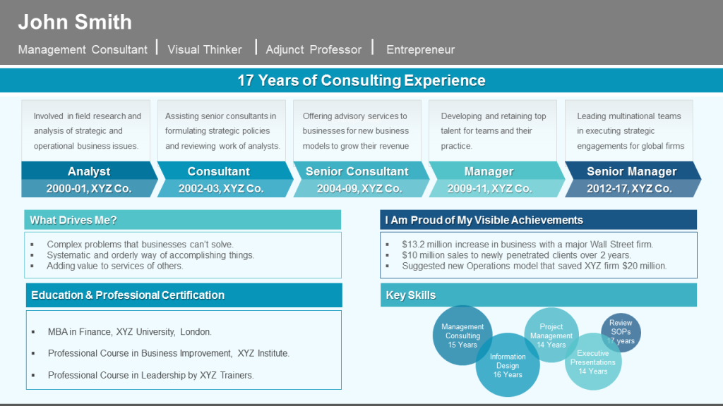 Professional CV Template with Career Timeline