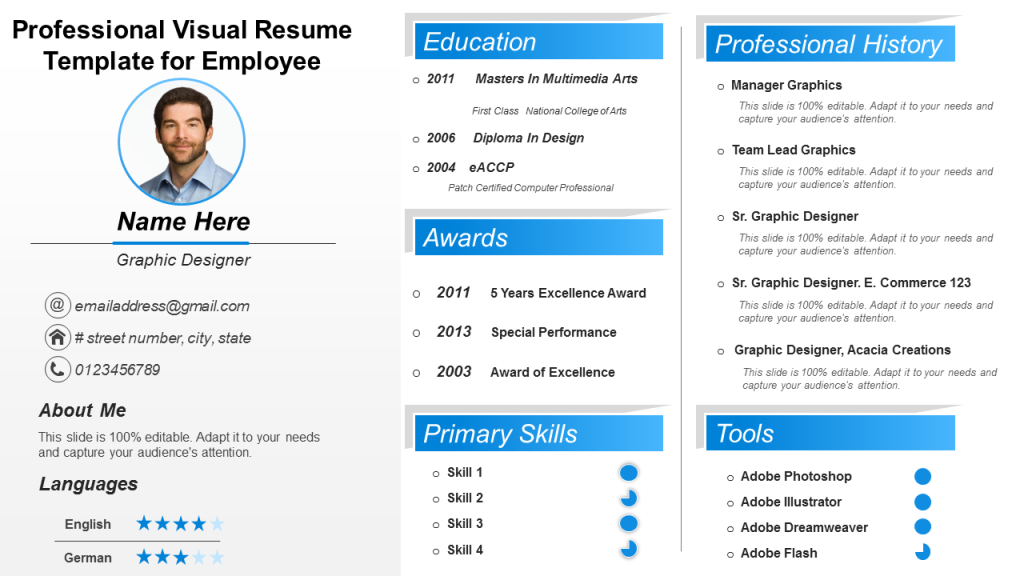 download one slide resume template ppt