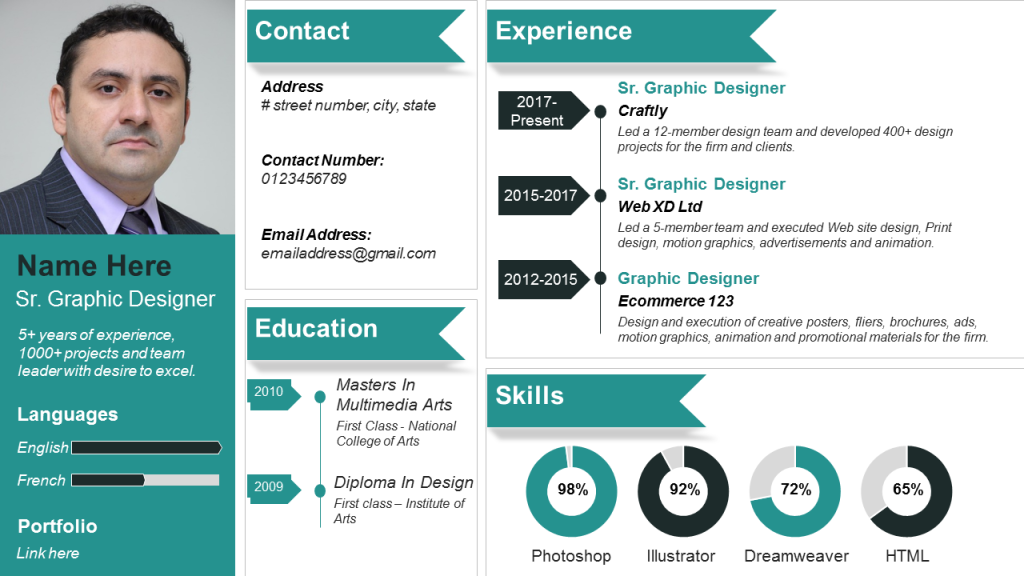 Professional Visual Resume by Graphic Designer