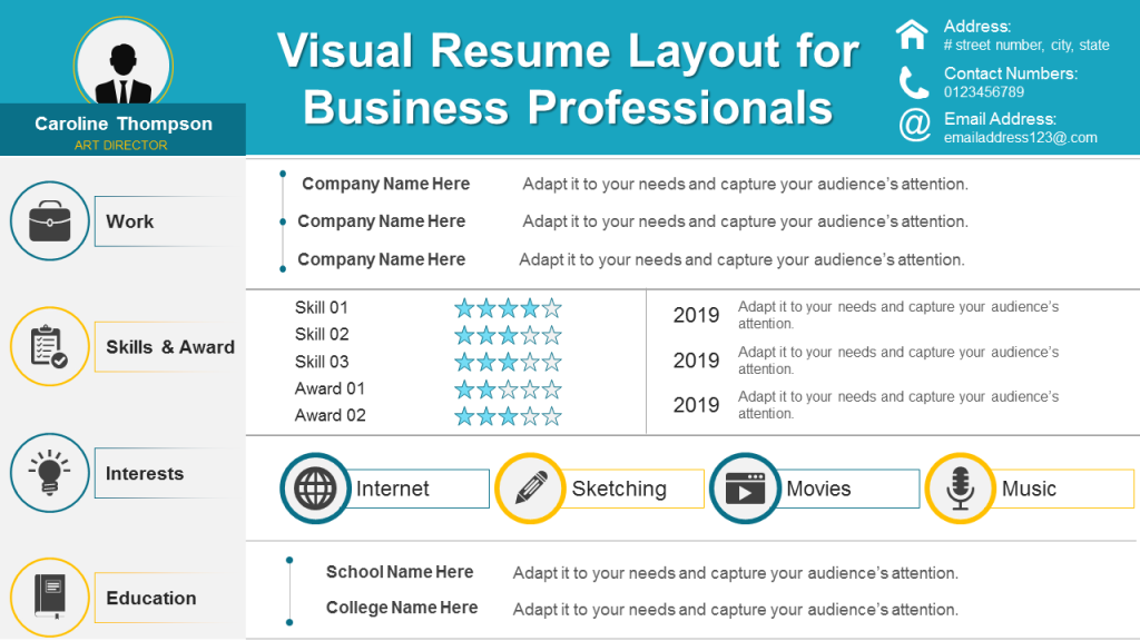 Visual Resume Layout for Business Professionals