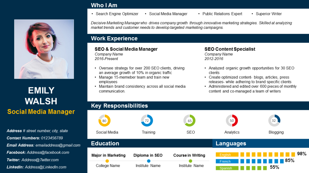 Visual Resume PPT Sample for Social Media Manager