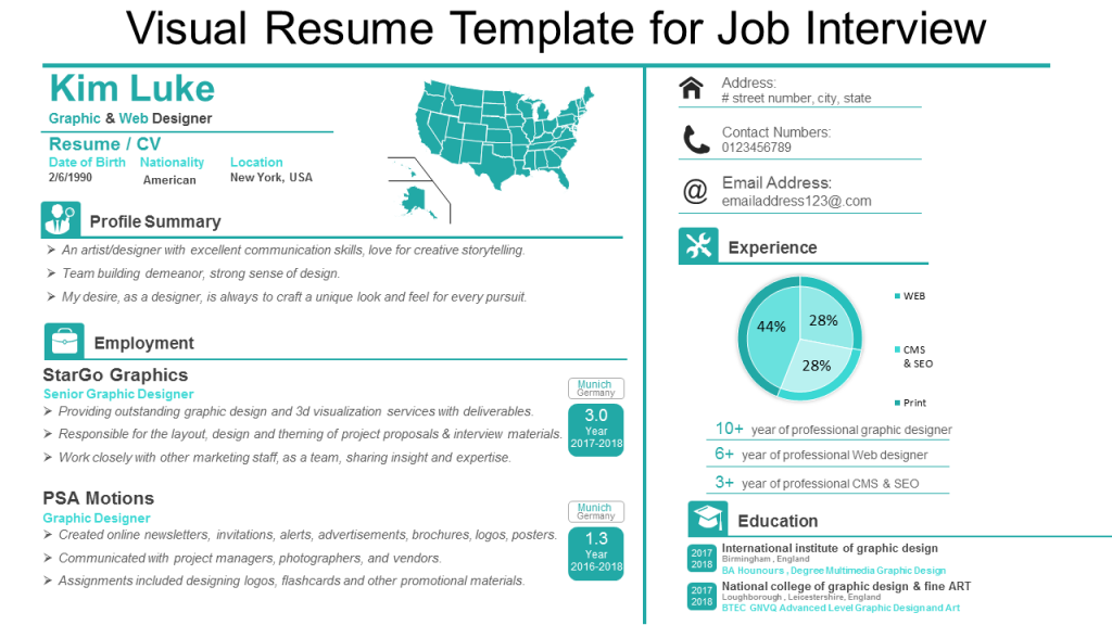 Visual Resume Single Slide