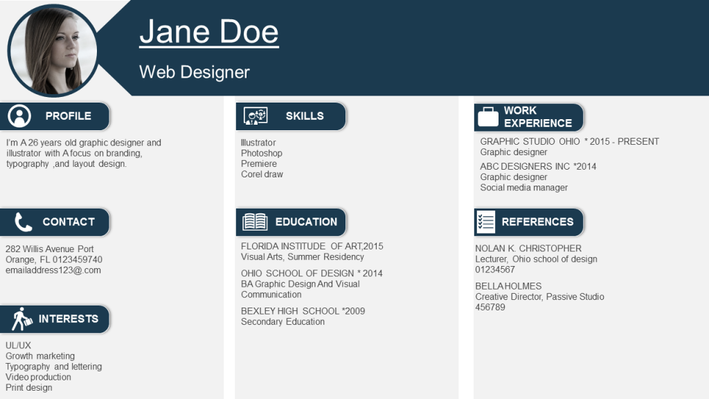 Visual Resume Template with Clear Cut Sections