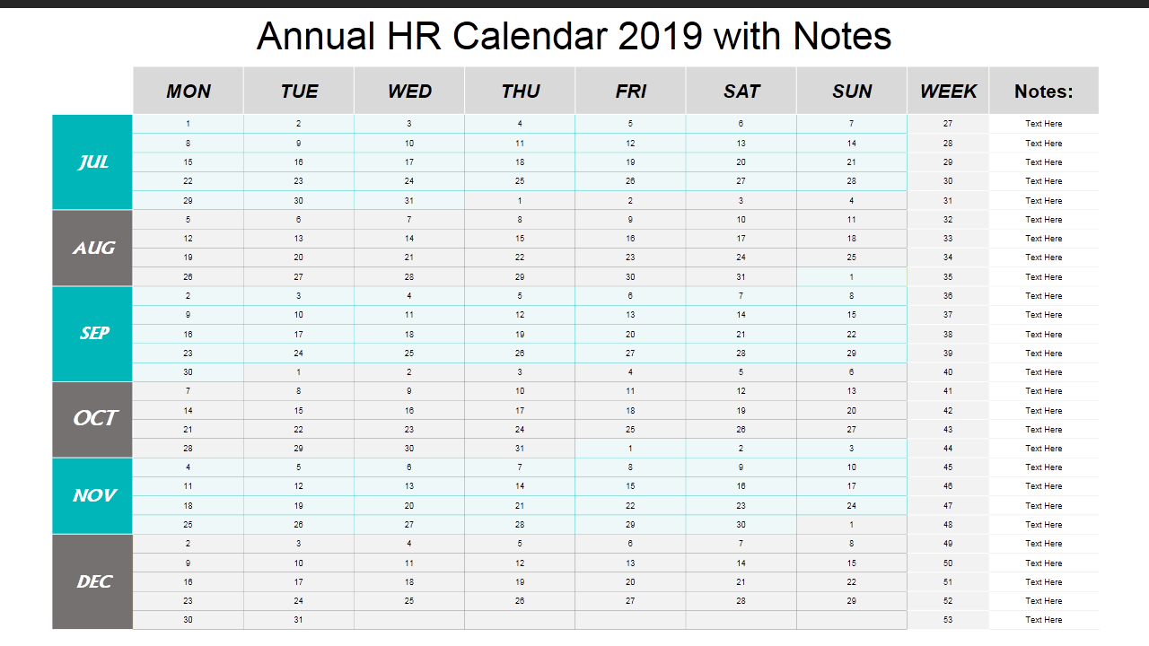 Calendar Template With Notes 2019