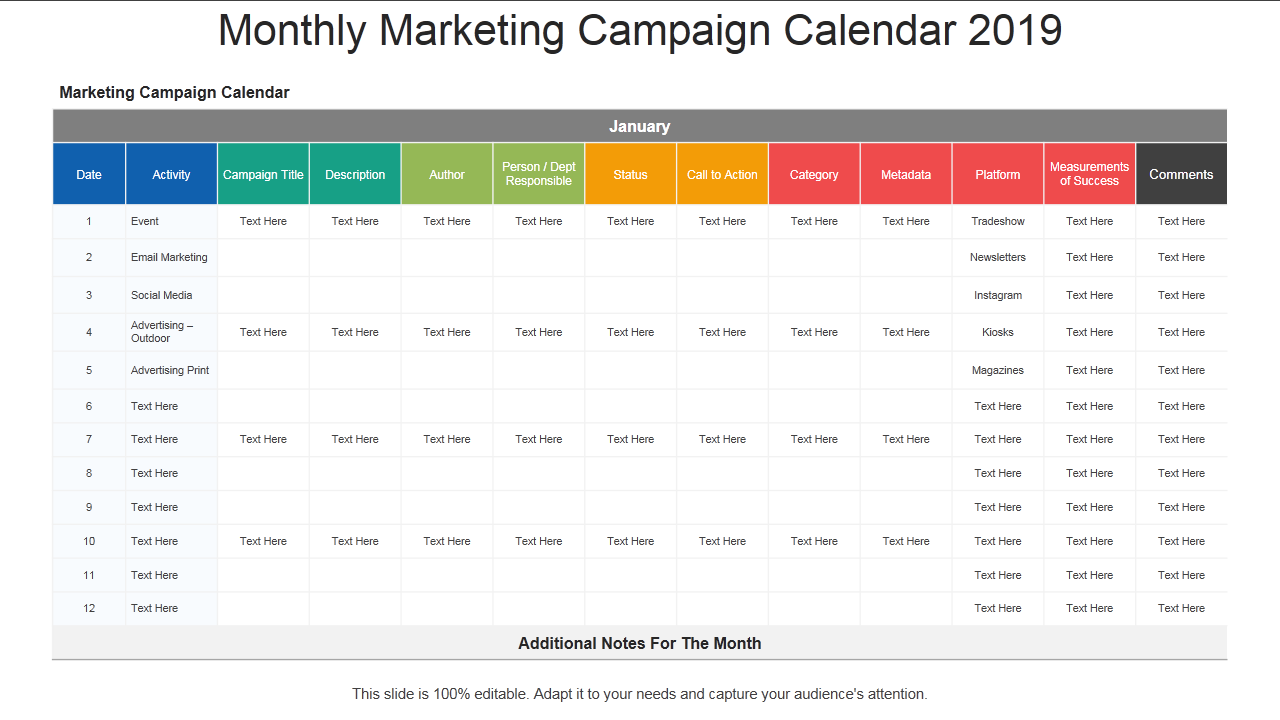 Monthly Marketing Calendar : Calendar powerpoint templates the