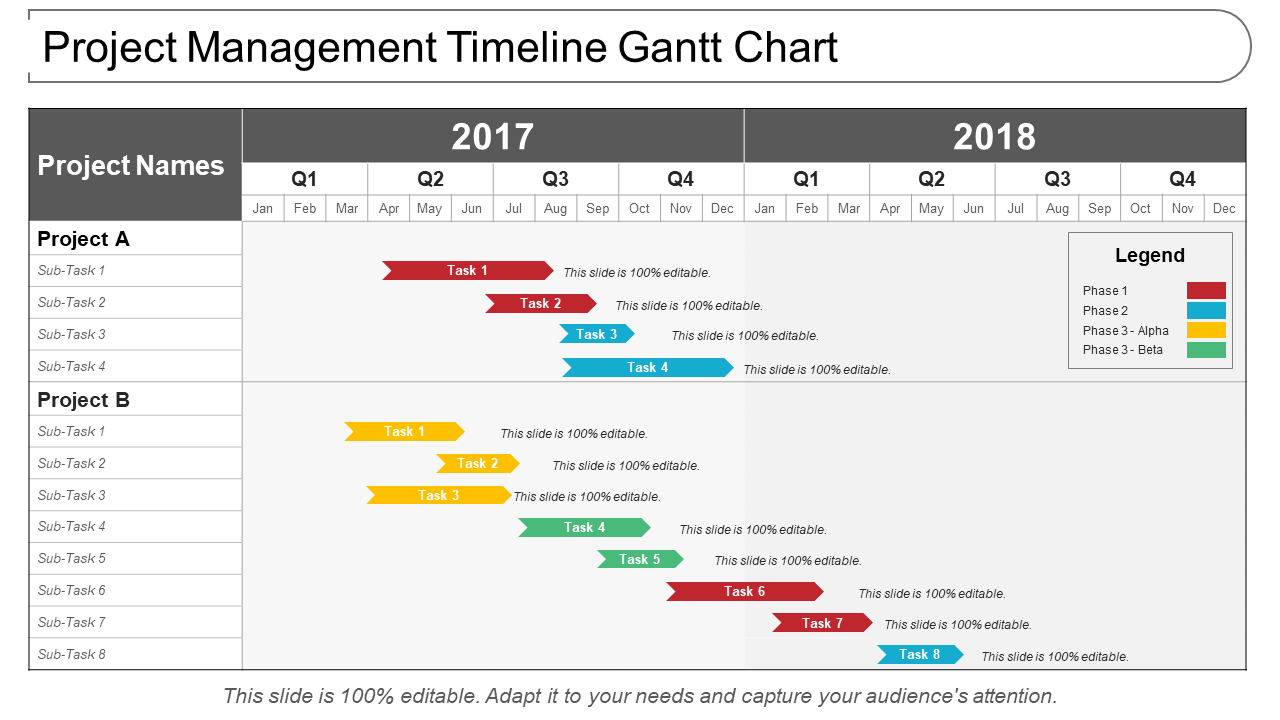 Project Management Timeline Gantt Chart
