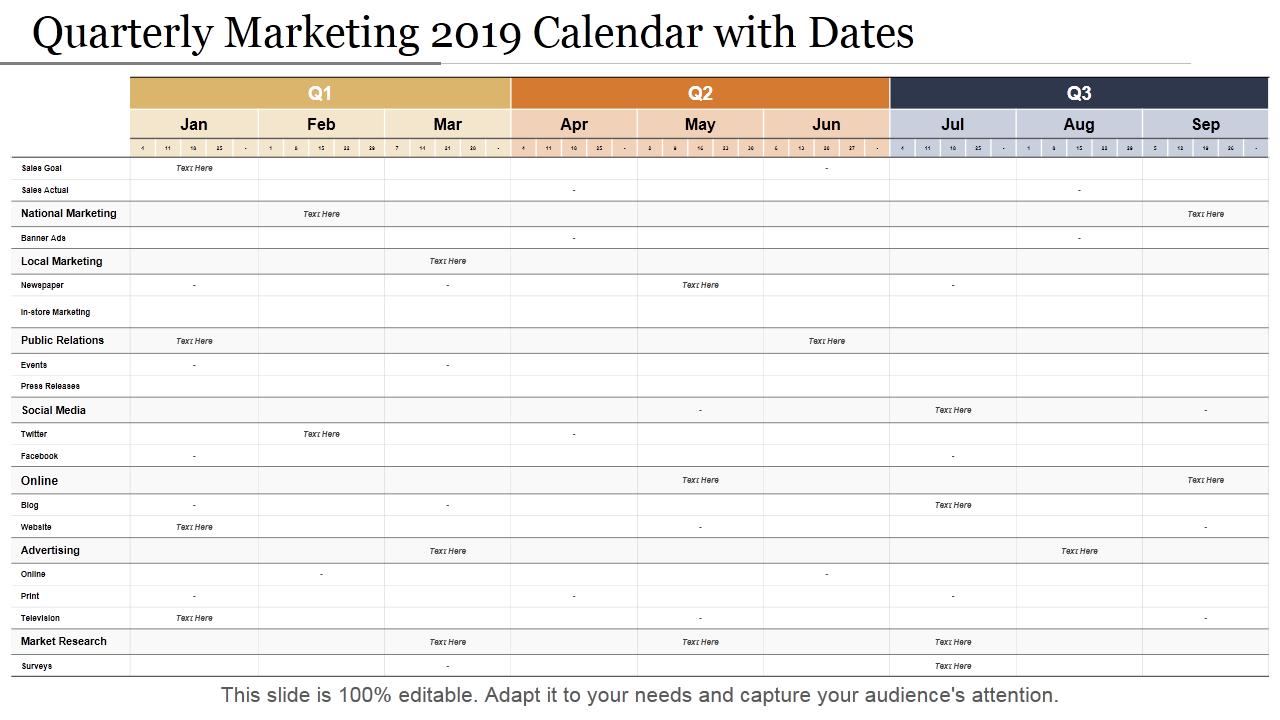 Quarterly Calendar 2019 Template 2019 Calendar: 13 PowerPoint Calendar Templates