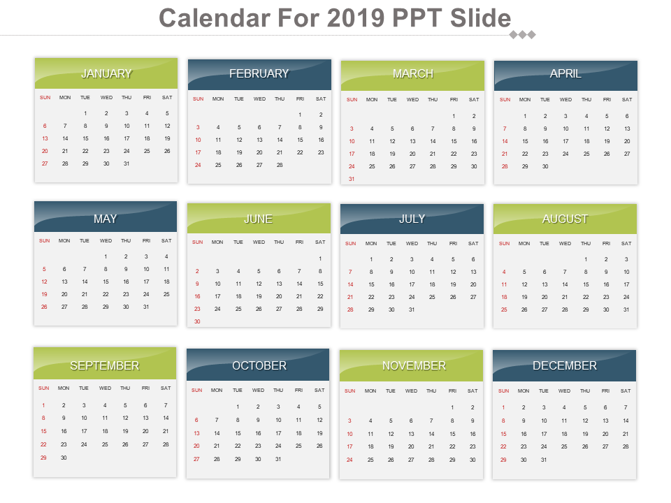 Calendar For 2019 Free PowerPoint Template