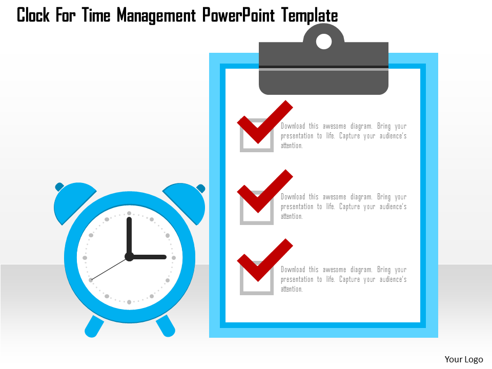 Clock For Time Management Free PowerPoint Template