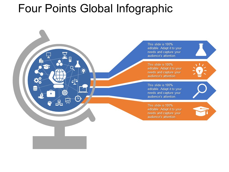 Four Points Global Infographic Free PowerPoint Template