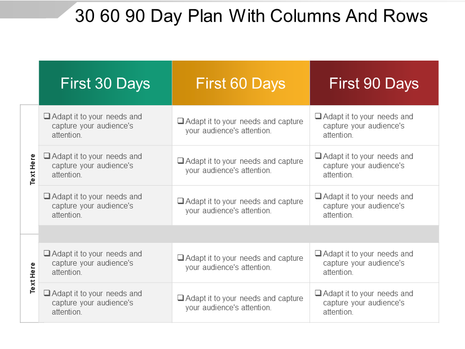 30-60-90-day plan PowerPoint Templates