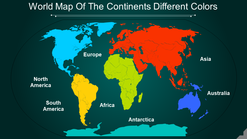 World Map Of The Continents Different Colors
