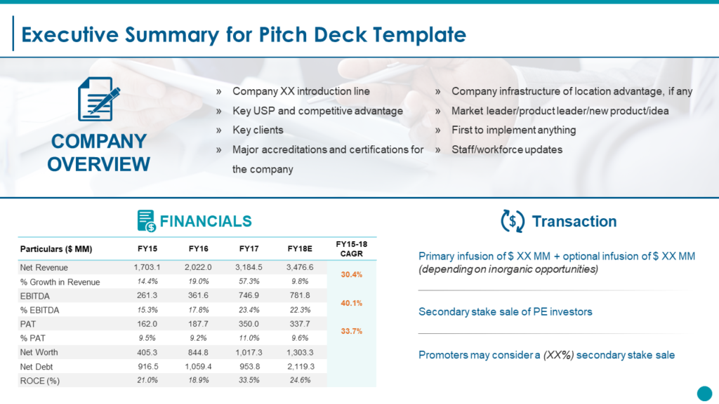 Executive Summary for Pitch Deck PowerPoint Template