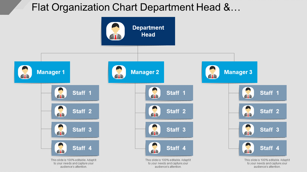 Flat Organization Chart Department Head And Managers