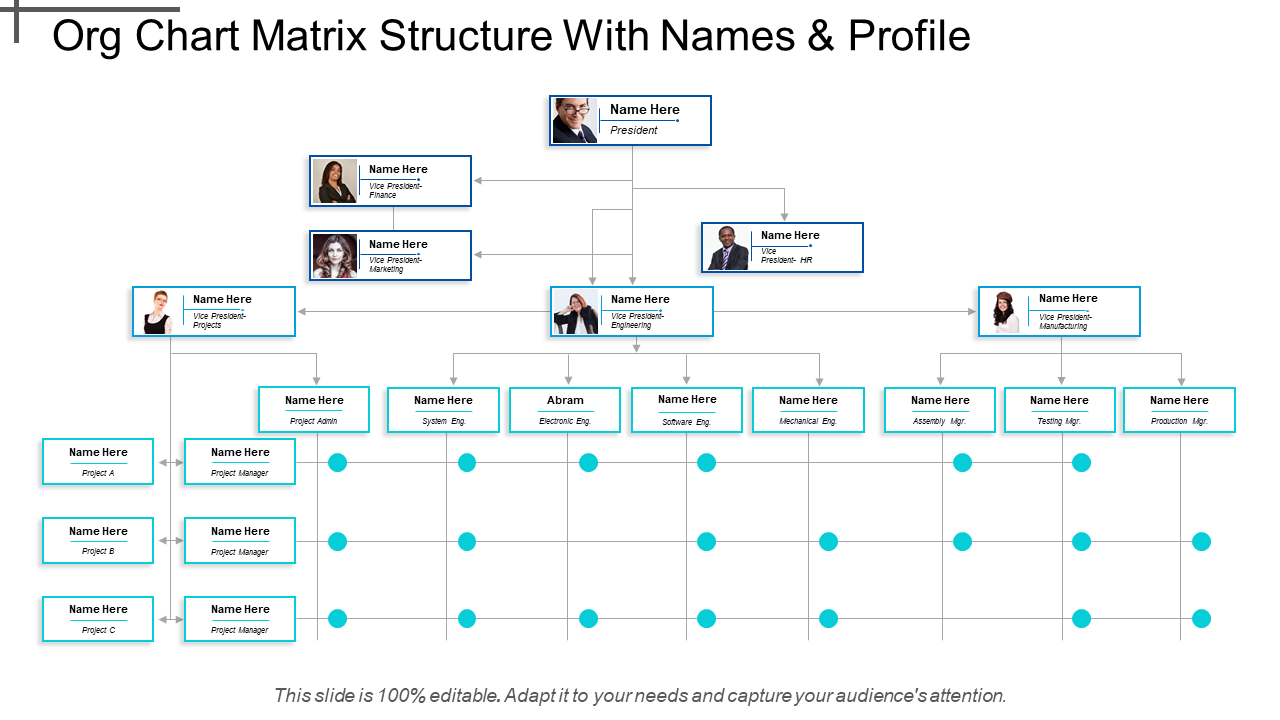 Org Chart Matrix Structure With Names And Profile