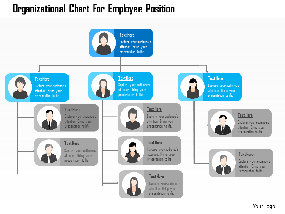 Organizational Chart For Employee Position Flat PowerPoint Design
