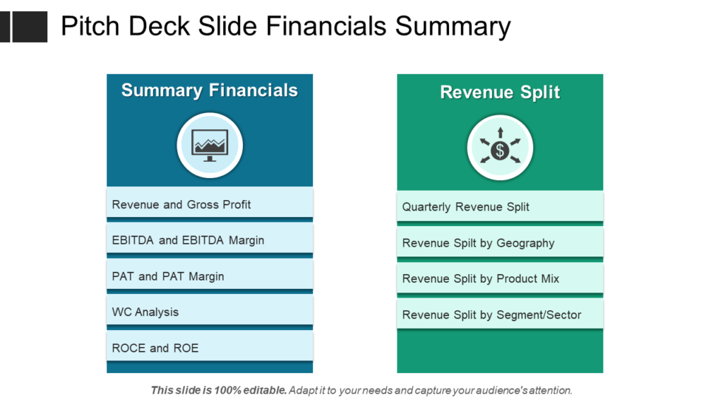 Pitch Deck Financial Summary PPT Slide