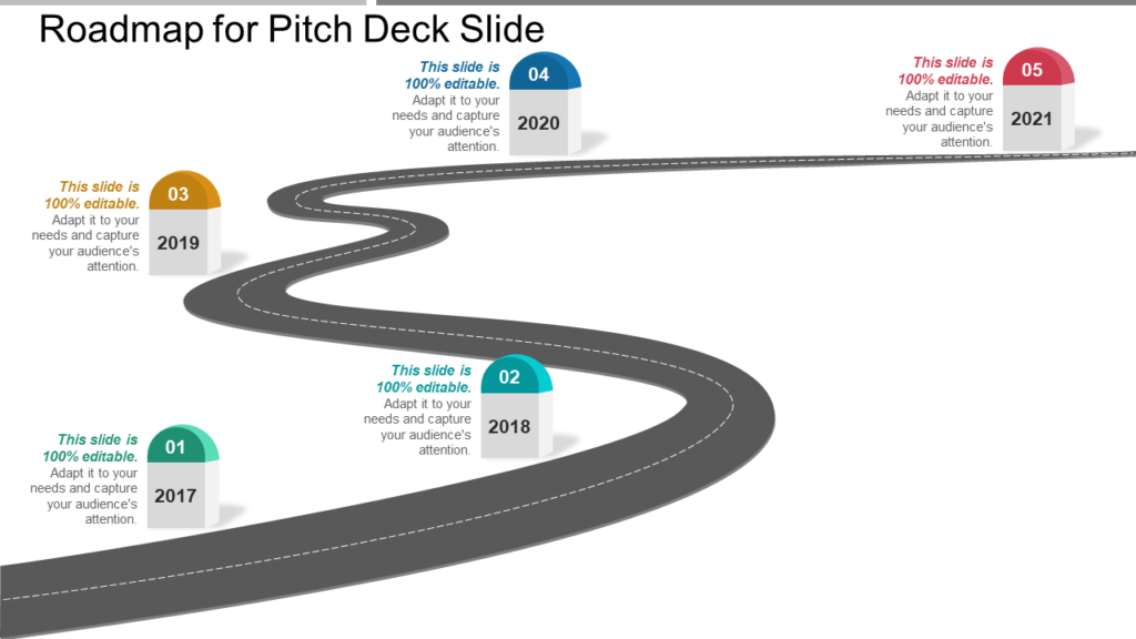 Roadmap for Pitch Deck PPT Slide
