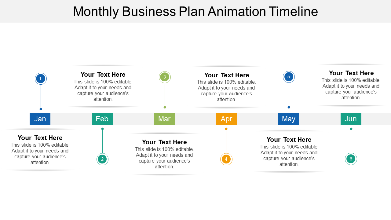 Monthly Business Plan Timeline PPT Slide