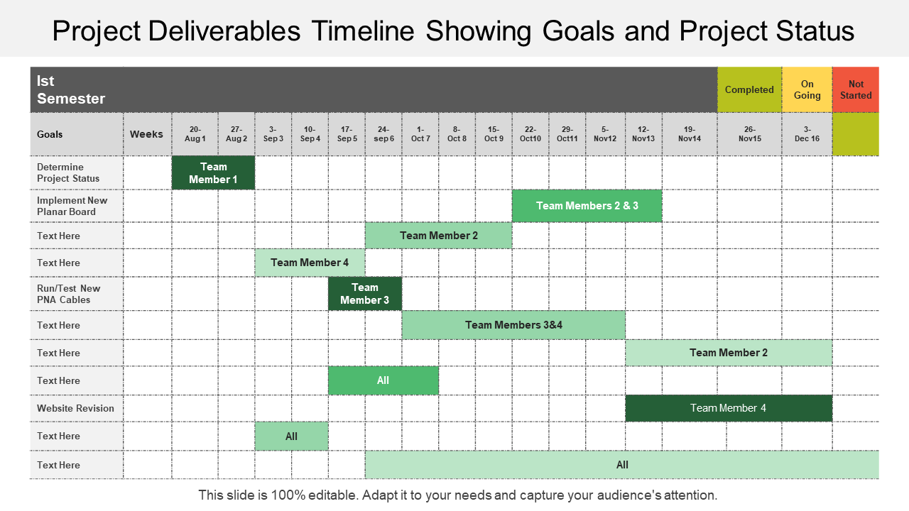 Project Deliverable Planning and Timelines PPT Slide