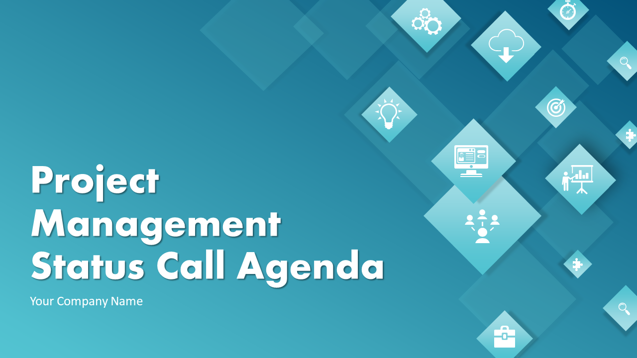 Project Management Status Call Agenda PowerPoint Presentation