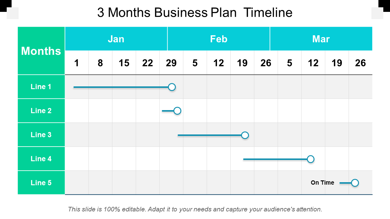 Three Month Business Timeline PPT Template