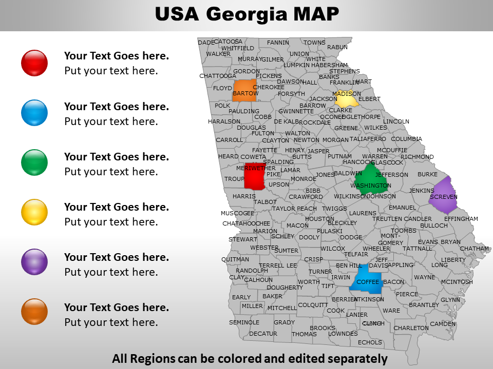 US Georgia Map PowerPoint Template