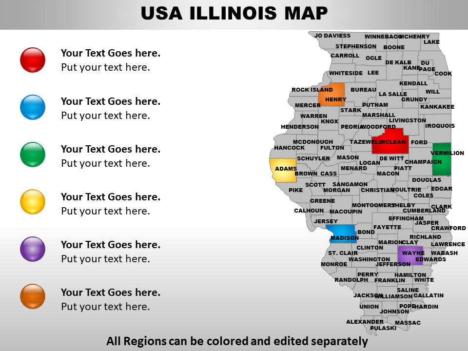 US Illinois Map PPT Slide