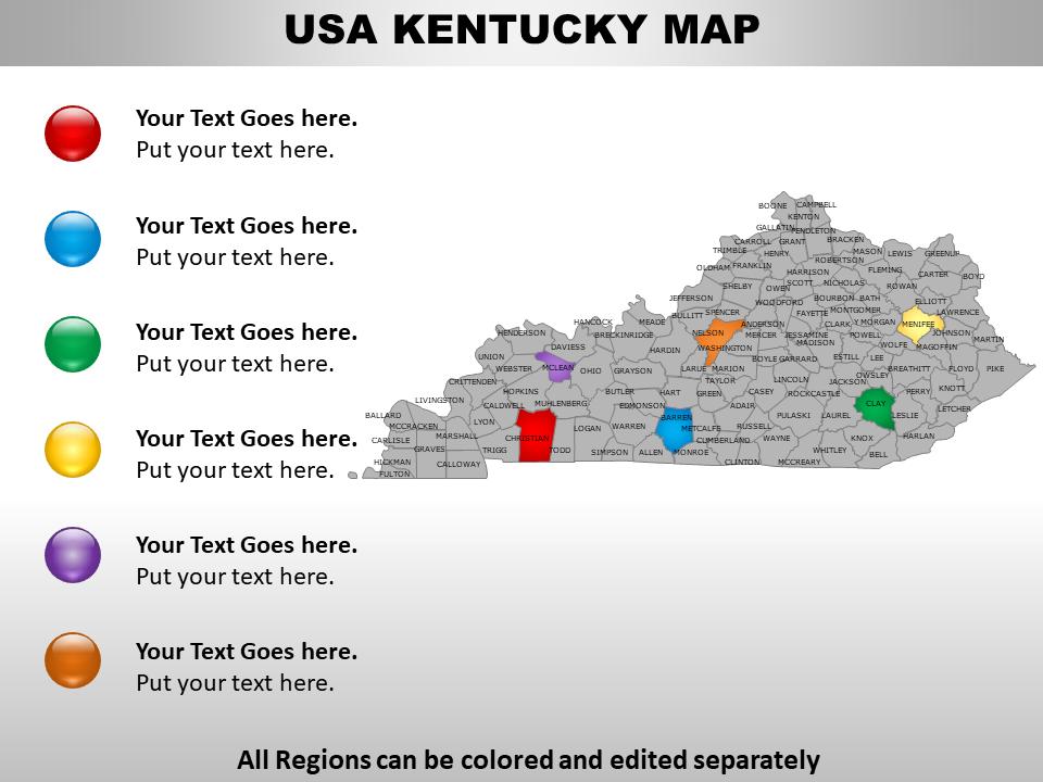 US Kentucky Map PPT Slide